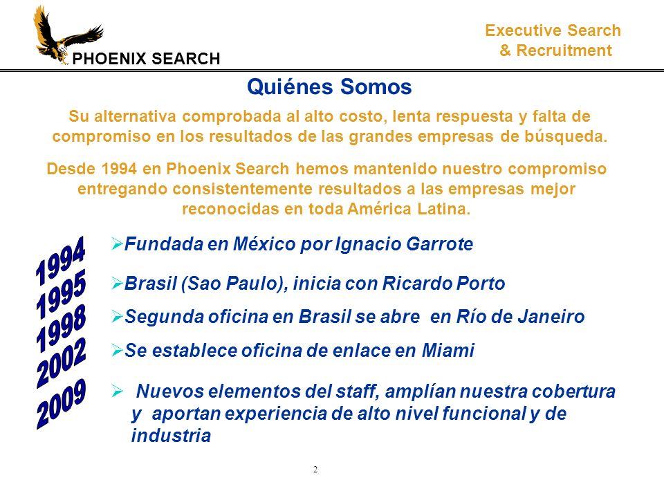 PHOENIX SEARCH Executive Search & Recruitment 3 Presentes en toda América Latina México Guatemala Costa Rica Panamá Puerto Rico Una sola imagen e idéntico servicio en toda la Región.