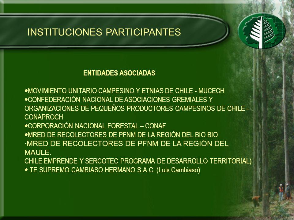 INSTITUCIONES PARTICIPANTES ENTIDADES ASOCIADAS MOVIMIENTO UNITARIO CAMPESINO Y ETNIAS DE CHILE - MUCECH CONFEDERACIÓN NACIONAL DE ASOCIACIONES GREMIA