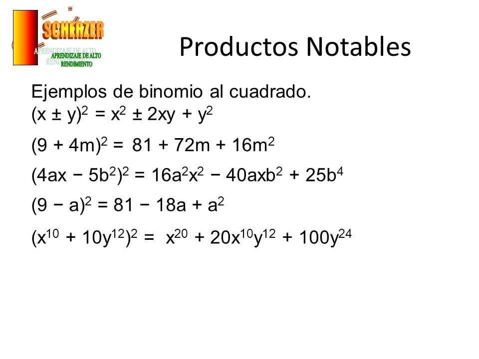 Productos Notables Ejemplos de binomios conjugados.