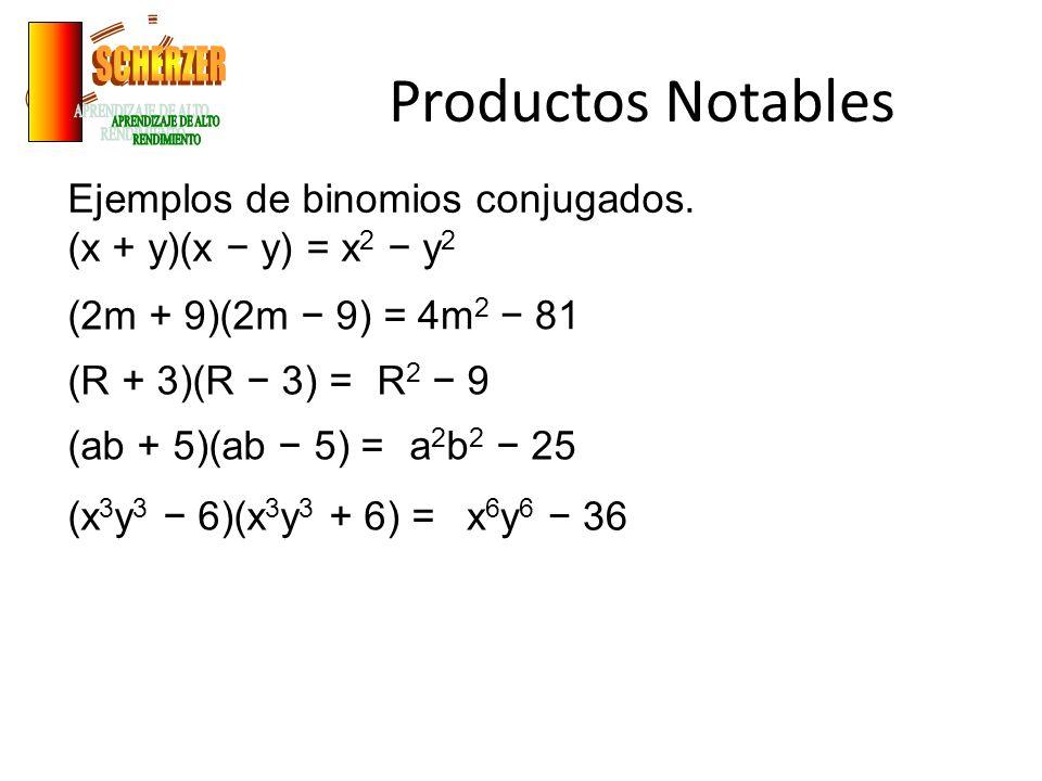 Productos Notables Ejemplos de binomios con un término común.
