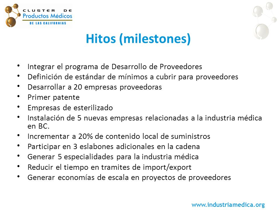 www.industriamedica.org Hitos (milestones) Integrar el programa de Desarrollo de Proveedores Definición de estándar de mínimos a cubrir para proveedor