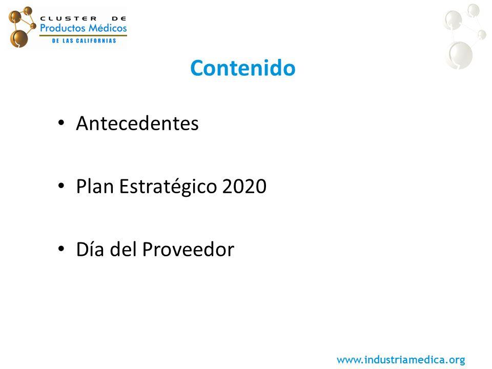 www.industriamedica.org Contenido Antecedentes Plan Estratégico 2020 Día del Proveedor
