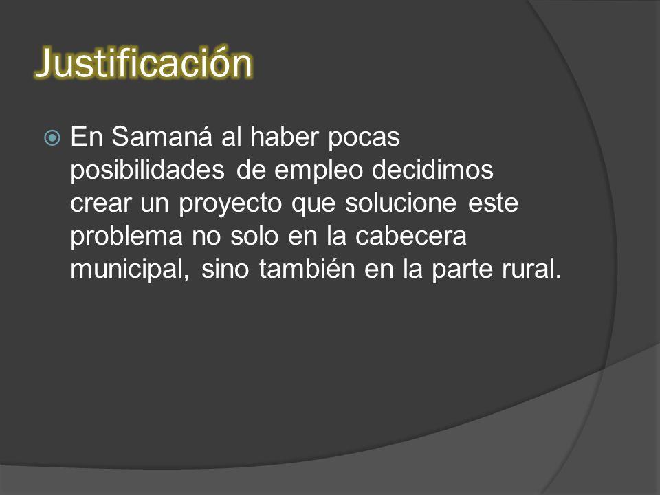 En Samaná al haber pocas posibilidades de empleo decidimos crear un proyecto que solucione este problema no solo en la cabecera municipal, sino también en la parte rural.