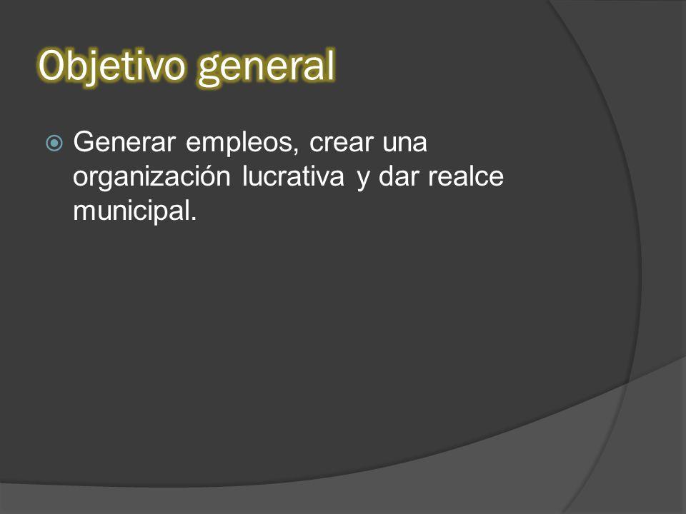 Generar empleos, crear una organización lucrativa y dar realce municipal.