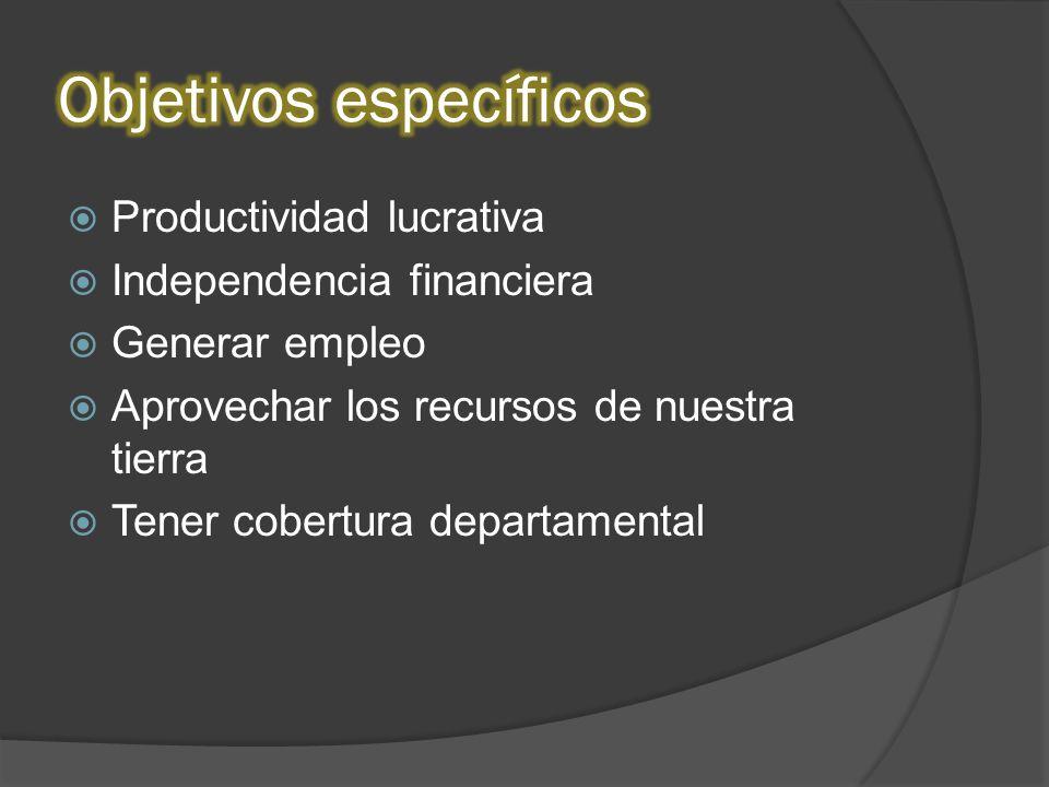 Productividad lucrativa Independencia financiera Generar empleo Aprovechar los recursos de nuestra tierra Tener cobertura departamental