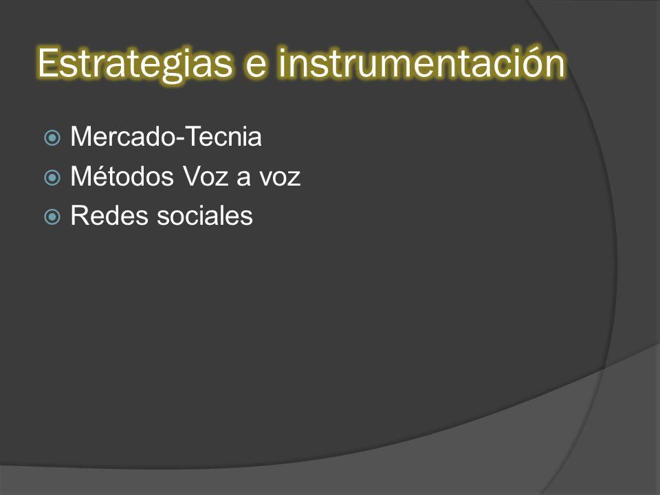 Mercado-Tecnia Métodos Voz a voz Redes sociales