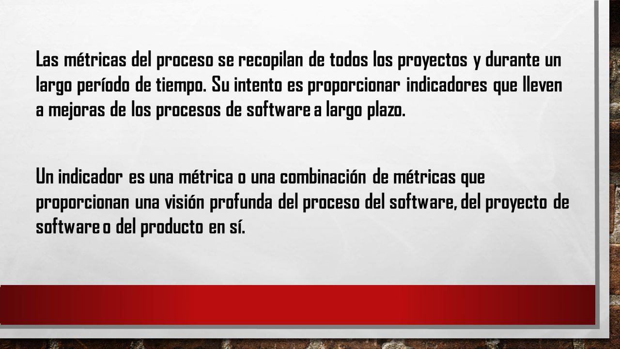 Las métricas del proceso se recopilan de todos los proyectos y durante un largo período de tiempo. Su intento es proporcionar indicadores que lleven a