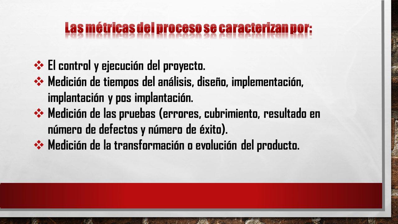 El control y ejecución del proyecto. Medición de tiempos del análisis, diseño, implementación, implantación y pos implantación. Medición de las prueba