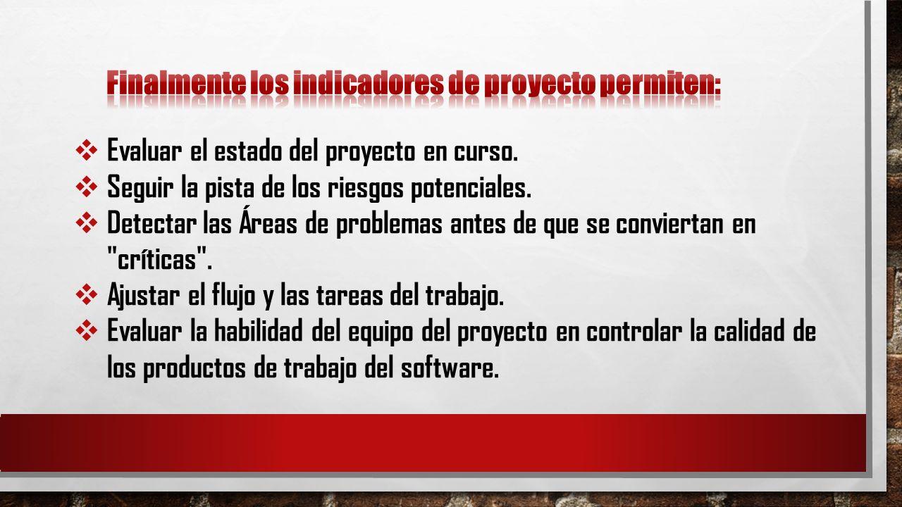 Evaluar el estado del proyecto en curso. Seguir la pista de los riesgos potenciales. Detectar las Áreas de problemas antes de que se conviertan en