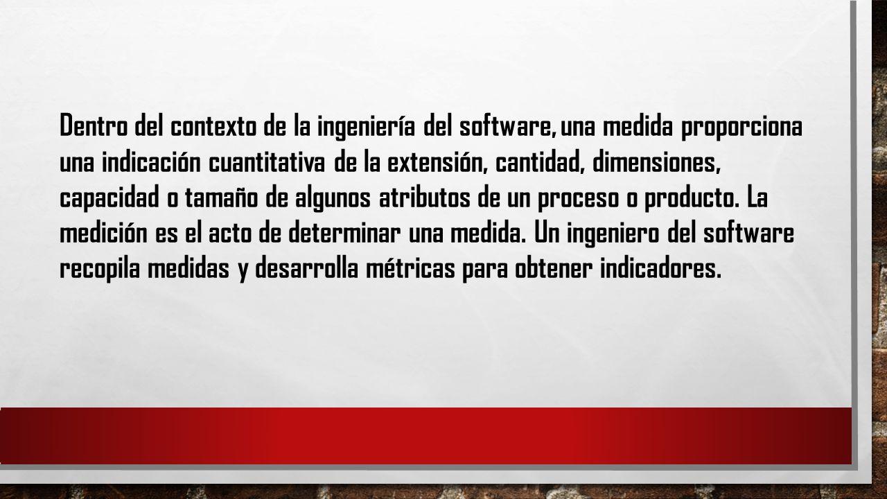 Dentro del contexto de la ingeniería del software, una medida proporciona una indicación cuantitativa de la extensión, cantidad, dimensiones, capacida