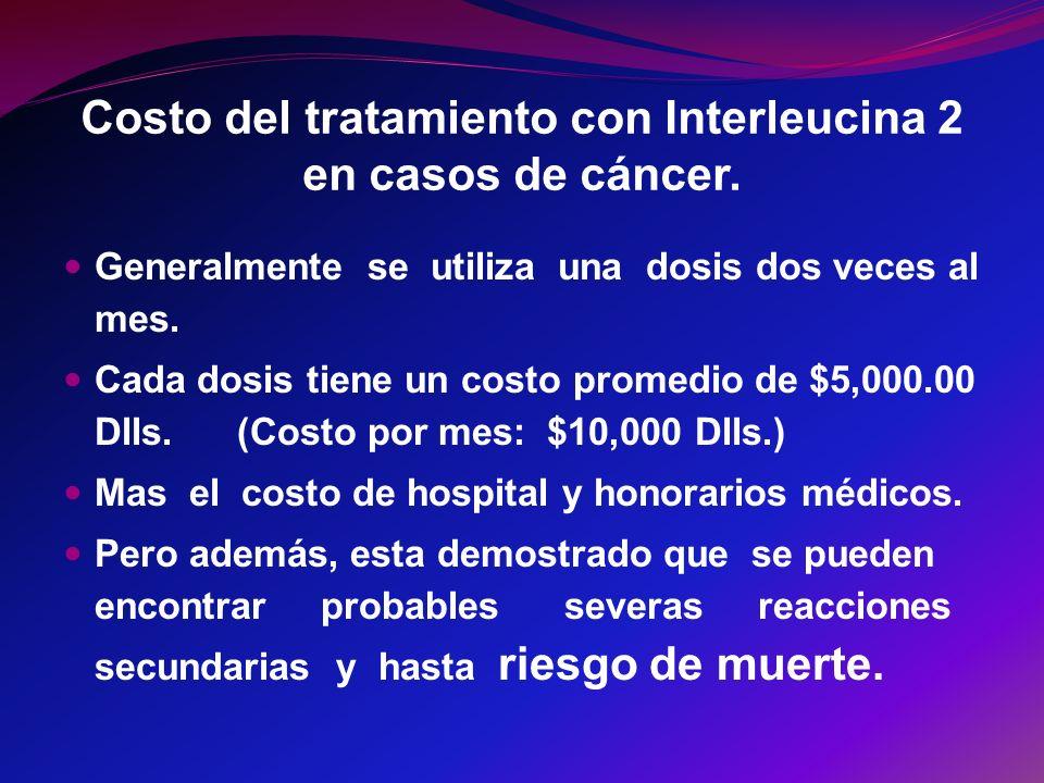 Costo del tratamiento con Interleucina 2 en casos de cáncer. Generalmente se utiliza una dosis dos veces al mes. Cada dosis tiene un costo promedio de