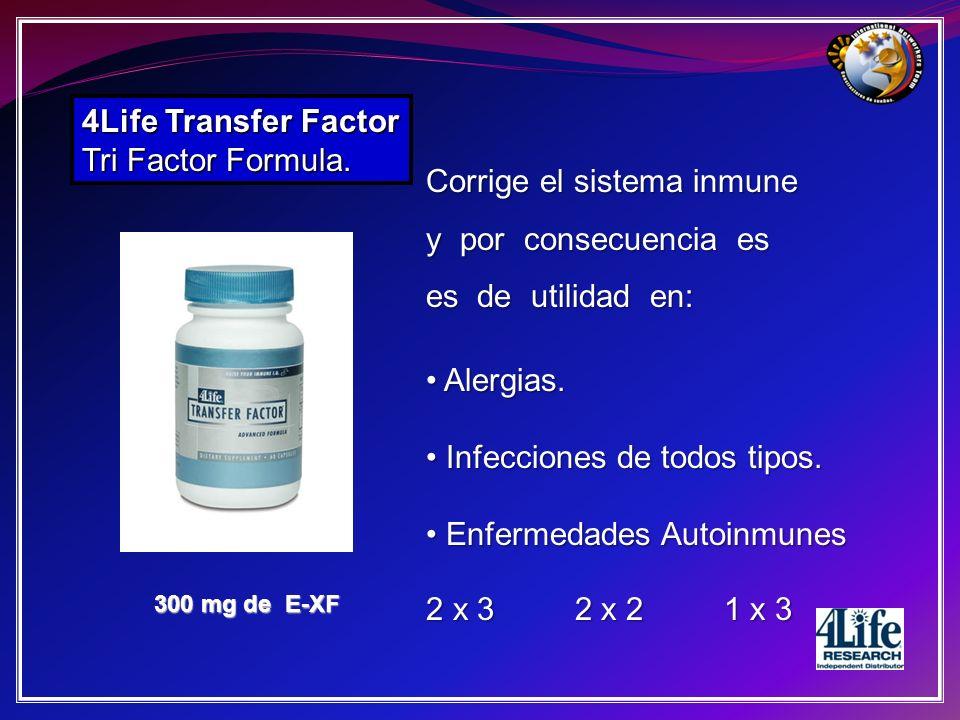 4Life Transfer Factor Tri Factor Formula. 300 mg de E-XF Corrige el sistema inmune y por consecuencia es es de utilidad en: Alergias. Alergias. Infecc