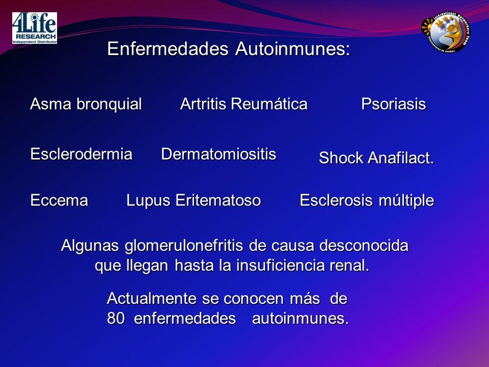 Enfermedades Autoinmunes: Asma bronquial Artritis Reumática EsclerodermiaDermatomiositis Psoriasis Eccema Lupus Eritematoso Esclerosis múltiple Alguna