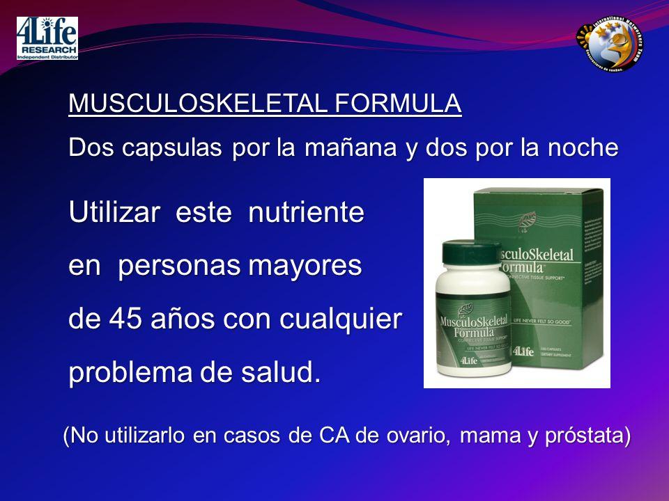 MUSCULOSKELETAL FORMULA Dos capsulas por la mañana y dos por la noche Utilizar este nutriente en personas mayores de 45 años con cualquier problema de