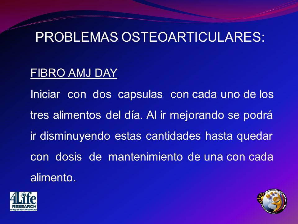 PROBLEMAS OSTEOARTICULARES: FIBRO AMJ DAY Iniciar con dos capsulas con cada uno de los tres alimentos del día. Al ir mejorando se podrá ir disminuyend