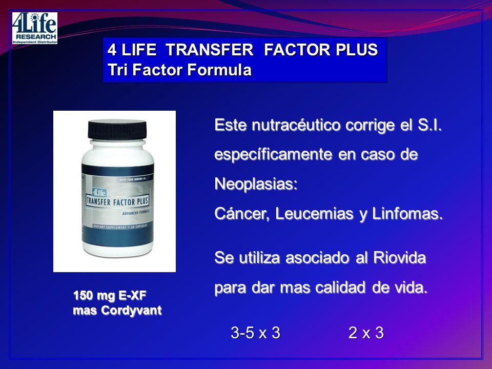 4 LIFE TRANSFER FACTOR PLUS Tri Factor Formula 150 mg E-XF mas Cordyvant Este nutracéutico corrige el S.I. específicamente en caso de Neoplasias: Cánc