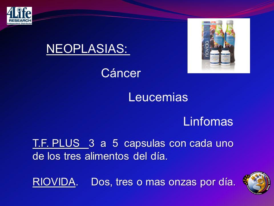 NEOPLASIAS: Cáncer Leucemias Linfomas T.F. PLUS 3 a 5 capsulas con cada uno de los tres alimentos del día. RIOVIDA. Dos, tres o mas onzas por día.