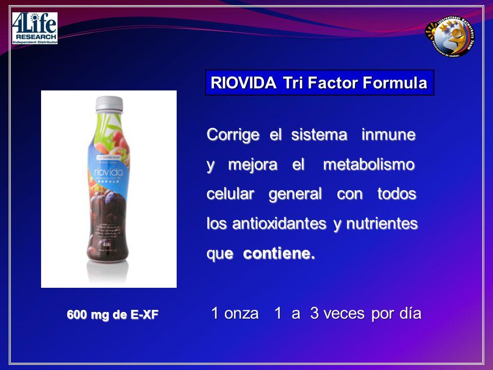 RIOVIDA Tri Factor Formula 600 mg de E-XF Corrige el sistema inmune y mejora el metabolismo celular general con todos los antioxidantes y nutrientes q