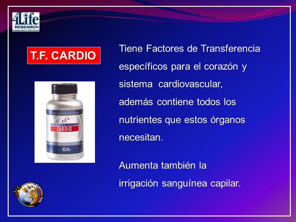 T.F. CARDIO Tiene Factores de Transferencia específicos para el corazón y sistema cardiovascular, además contiene todos los nutrientes que estos órgan