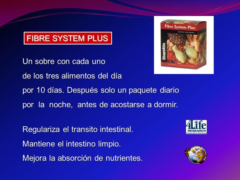 FIBRE SYSTEM PLUS Un sobre con cada uno de los tres alimentos del día por 10 días. Después solo un paquete diario por la noche, antes de acostarse a d