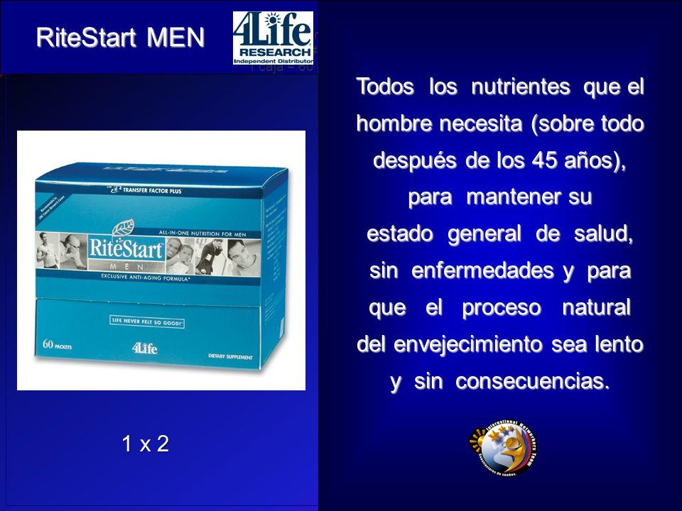 RiteStart Men Artículo # 26501 1 caja = 60 paquetes Todos los nutrientes que el hombre necesita (sobre todo después de los 45 años), para mantener su