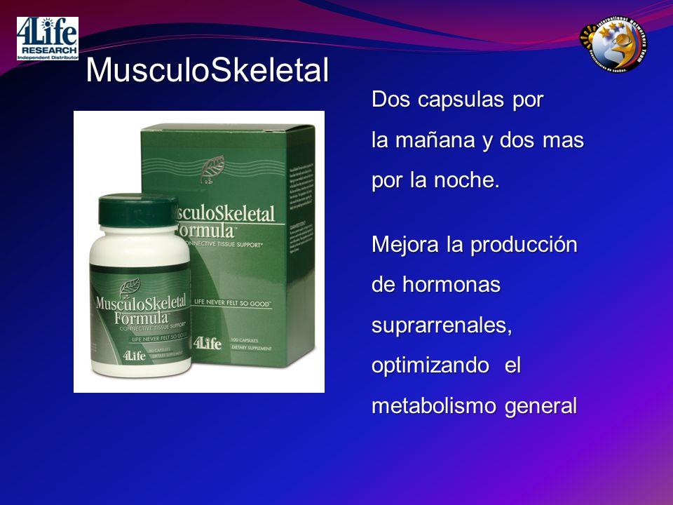 MusculoSkeletal Dos capsulas por la mañana y dos mas por la noche. Mejora la producción de hormonas suprarrenales, optimizando el metabolismo general