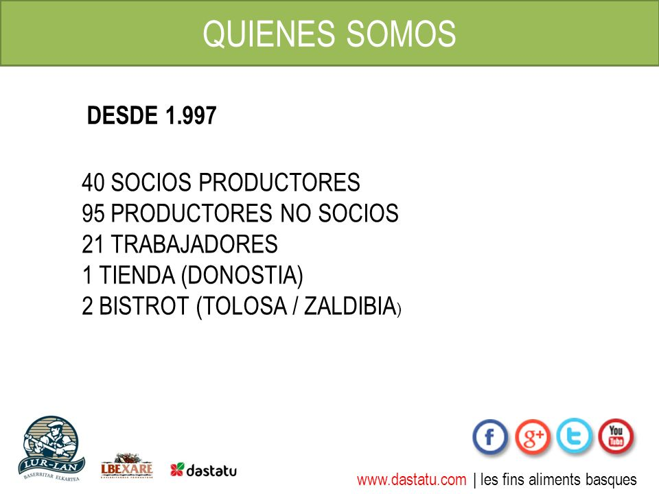 www.dastatu.com | les fins aliments basques QUIENES SOMOS 40 SOCIOS PRODUCTORES 95 PRODUCTORES NO SOCIOS 21 TRABAJADORES 1 TIENDA (DONOSTIA) 2 BISTROT (TOLOSA / ZALDIBIA ) DESDE 1.997