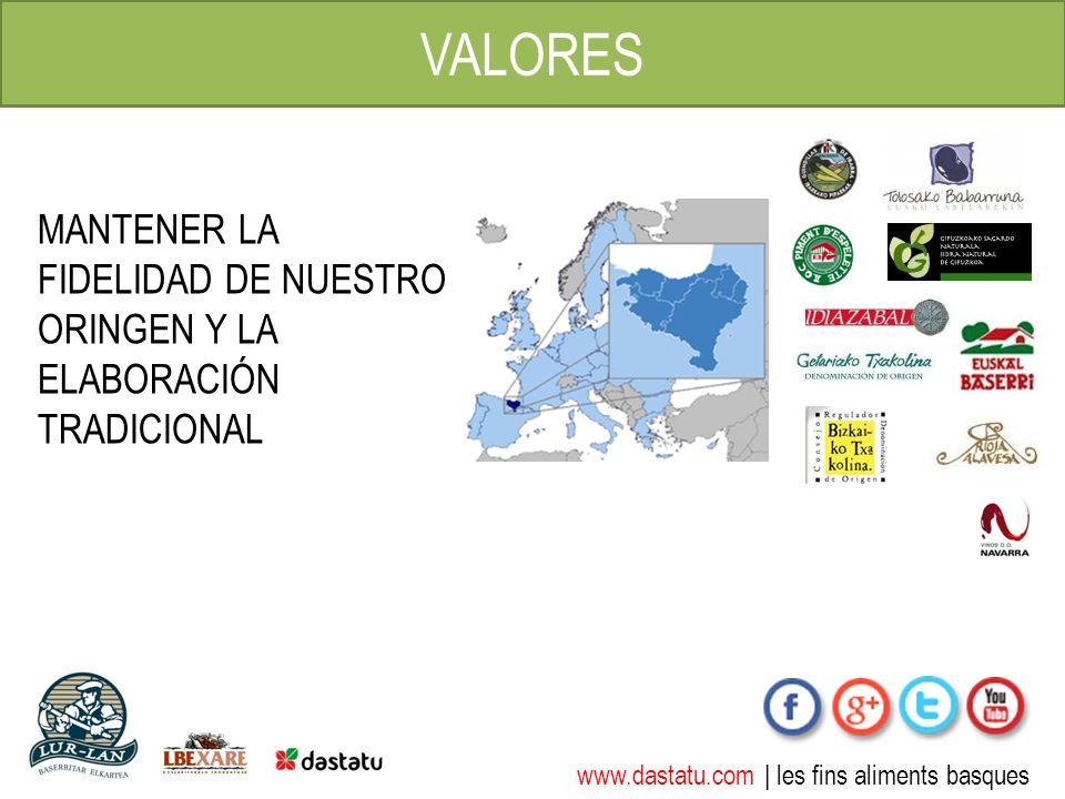 www.dastatu.com | les fins aliments basques VALORES MANTENER LA FIDELIDAD DE NUESTRO ORINGEN Y LA ELABORACIÓN TRADICIONAL