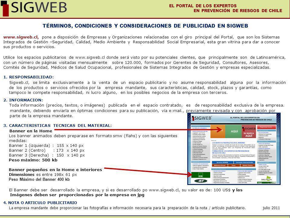 TÉRMINOS, CONDICIONES Y CONSIDERACIONES DE PUBLICIDAD EN SIGWEB www.sigweb.cl, pone a disposición de Empresas y Organizaciones relacionadas con el gir