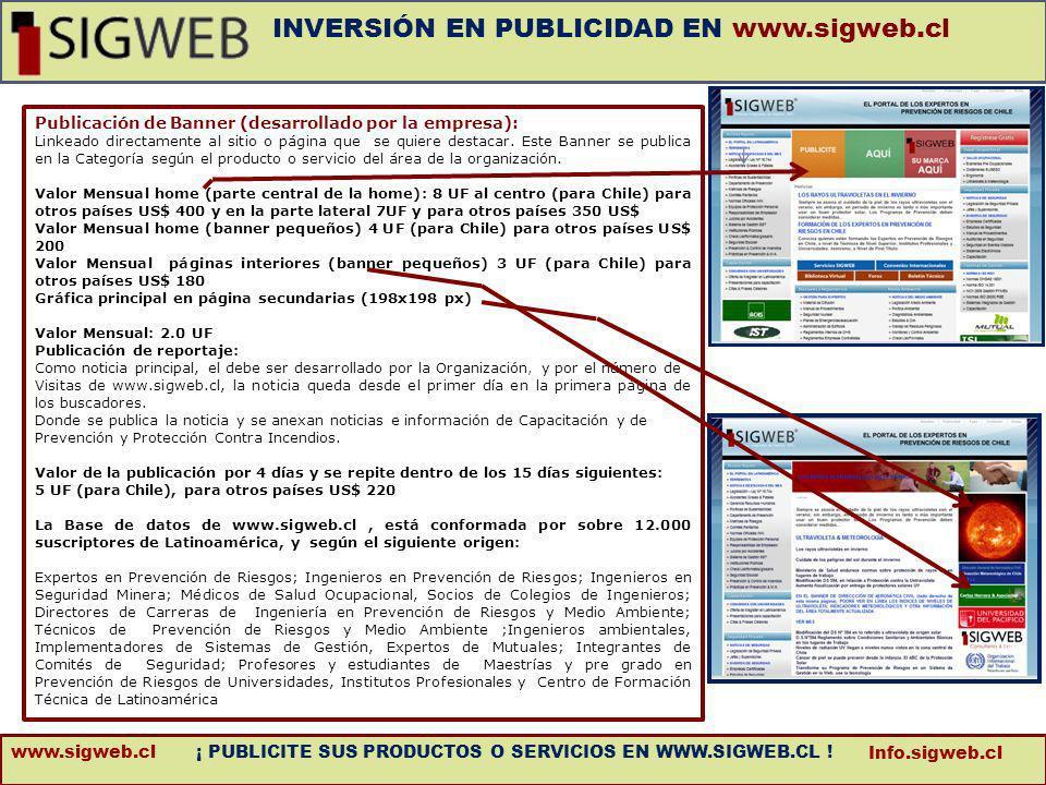 info@sigweb.cl Publicación de Banner (desarrollado por la empresa): Linkeado directamente al sitio o página que se quiere destacar. Este Banner se pub