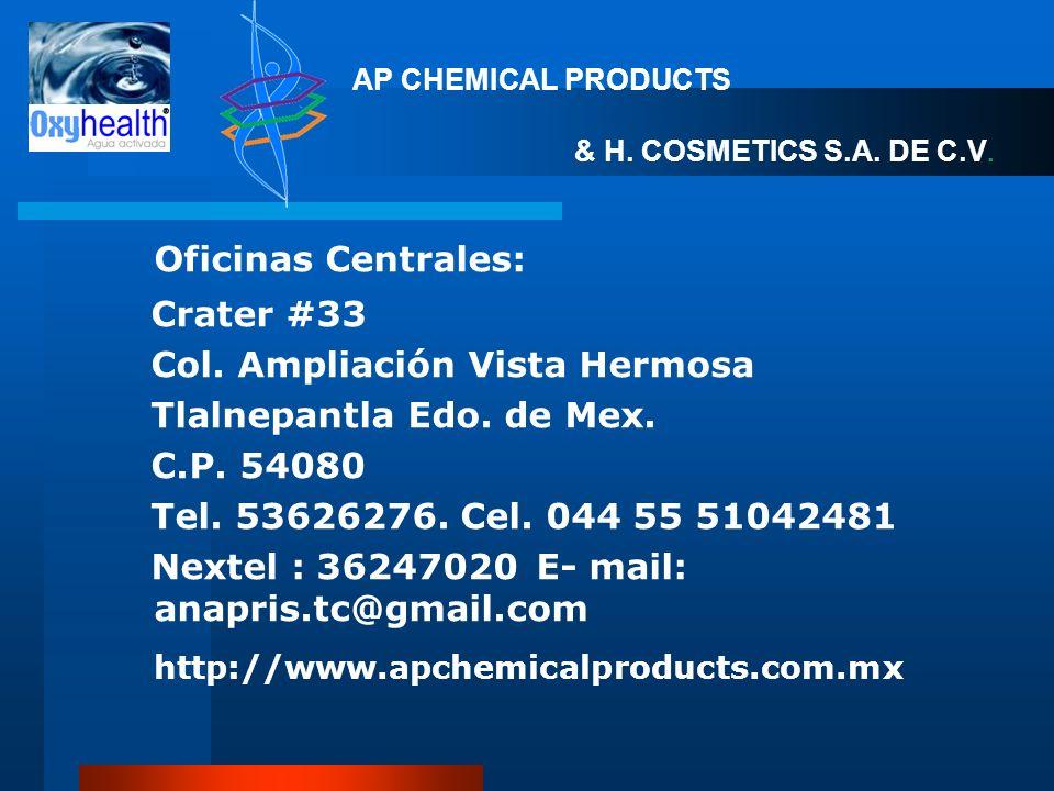 Oficinas Centrales: Crater #33 Col. Ampliación Vista Hermosa Tlalnepantla Edo. de Mex. C.P. 54080 Tel. 53626276. Cel. 044 55 51042481 Nextel : 3624702