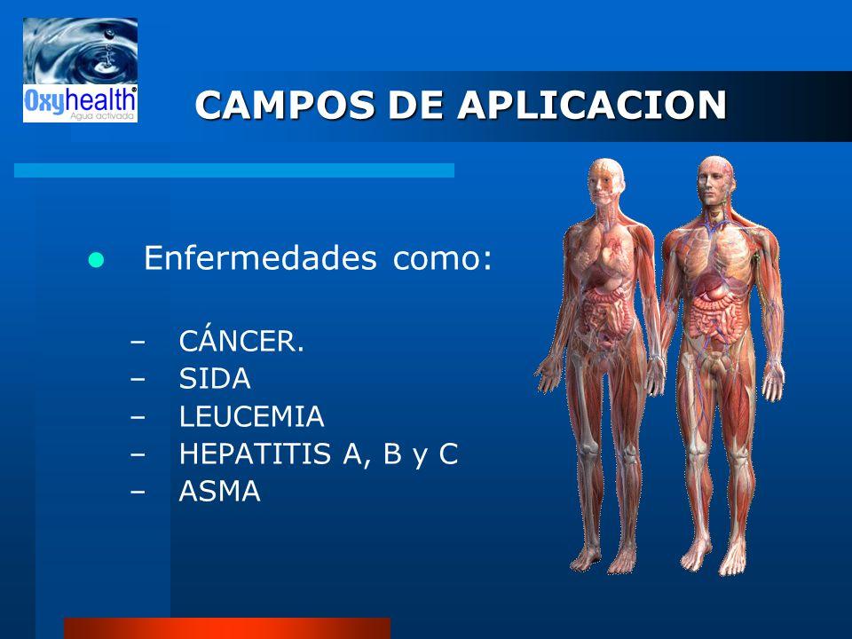 CAMPOS DE APLICACION Enfermedades como: –CÁNCER. –SIDA –LEUCEMIA –HEPATITIS A, B y C –ASMA