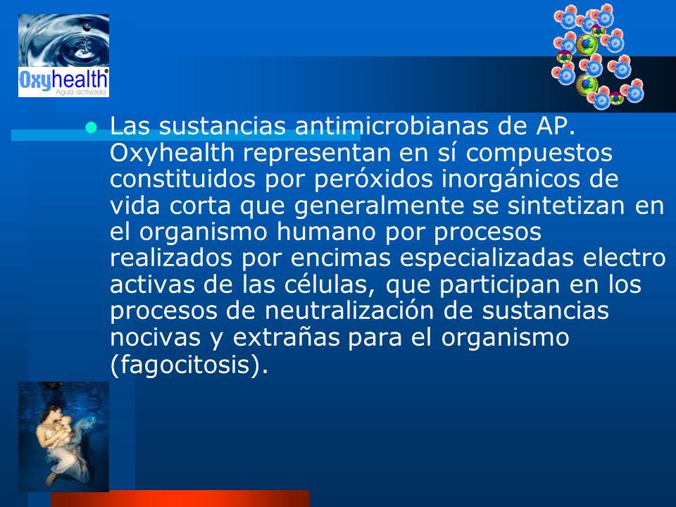 Las sustancias antimicrobianas de AP. Oxyhealth representan en sí compuestos constituidos por peróxidos inorgánicos de vida corta que generalmente se