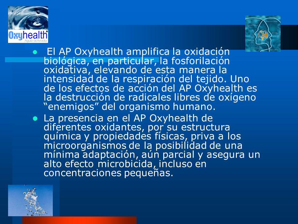 El AP Oxyhealth amplifica la oxidación biológica, en particular, la fosforilación oxidativa, elevando de esta manera la intensidad de la respiración d