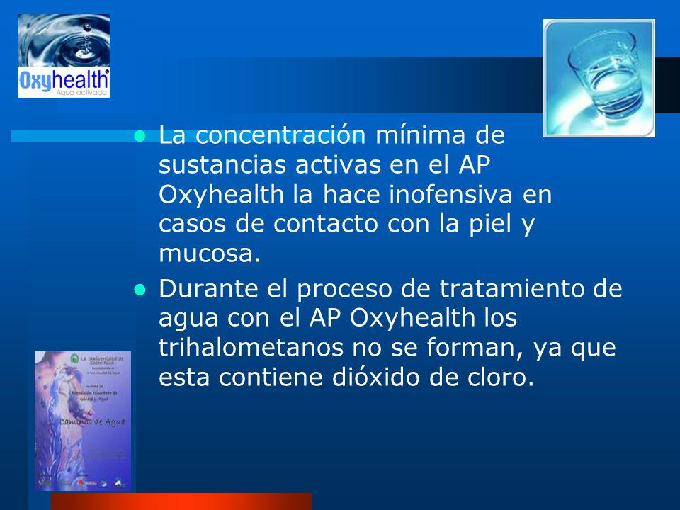 La concentración mínima de sustancias activas en el AP Oxyhealth la hace inofensiva en casos de contacto con la piel y mucosa. Durante el proceso de t