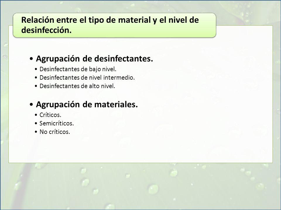 Agrupación de desinfectantes. Desinfectantes de bajo nivel. Desinfectantes de nivel intermedio. Desinfectantes de alto nivel. Agrupación de materiales