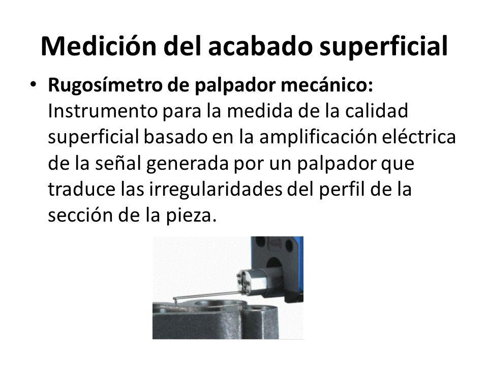 Medición del acabado superficial Rugosímetro: Palpador inductivo.