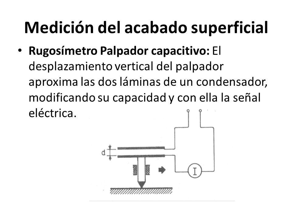 Medición del acabado superficial Rugosímetro: Palpador piezoeléctrico: El desplazamiento de la aguja del palpador deforma elásticamente un material piezoeléctrico, que responde a dicha deformación generando una señal eléctrica.
