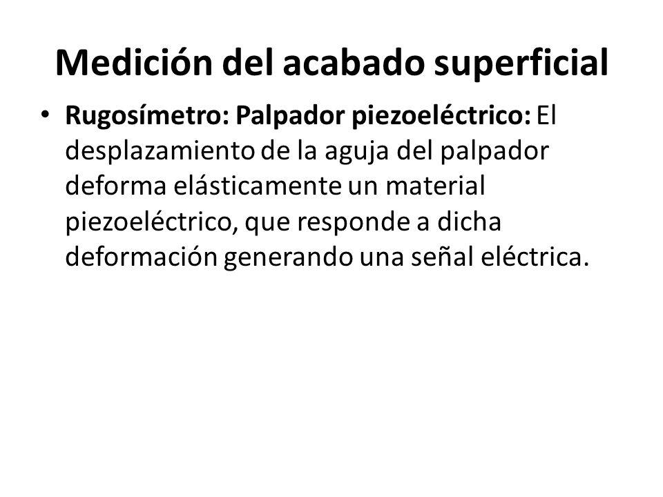 Medición del acabado superficial Rugosímetro: Palpador piezoeléctrico: El desplazamiento de la aguja del palpador deforma elásticamente un material pi