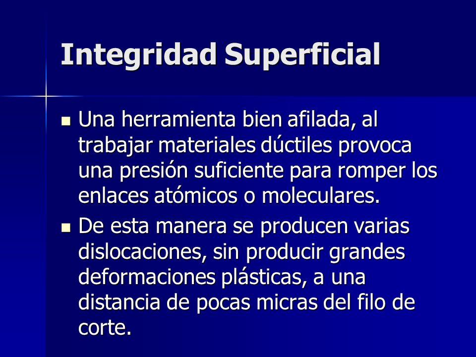 Integridad Superficial Una herramienta bien afilada, al trabajar materiales dúctiles provoca una presión suficiente para romper los enlaces atómicos o moleculares.