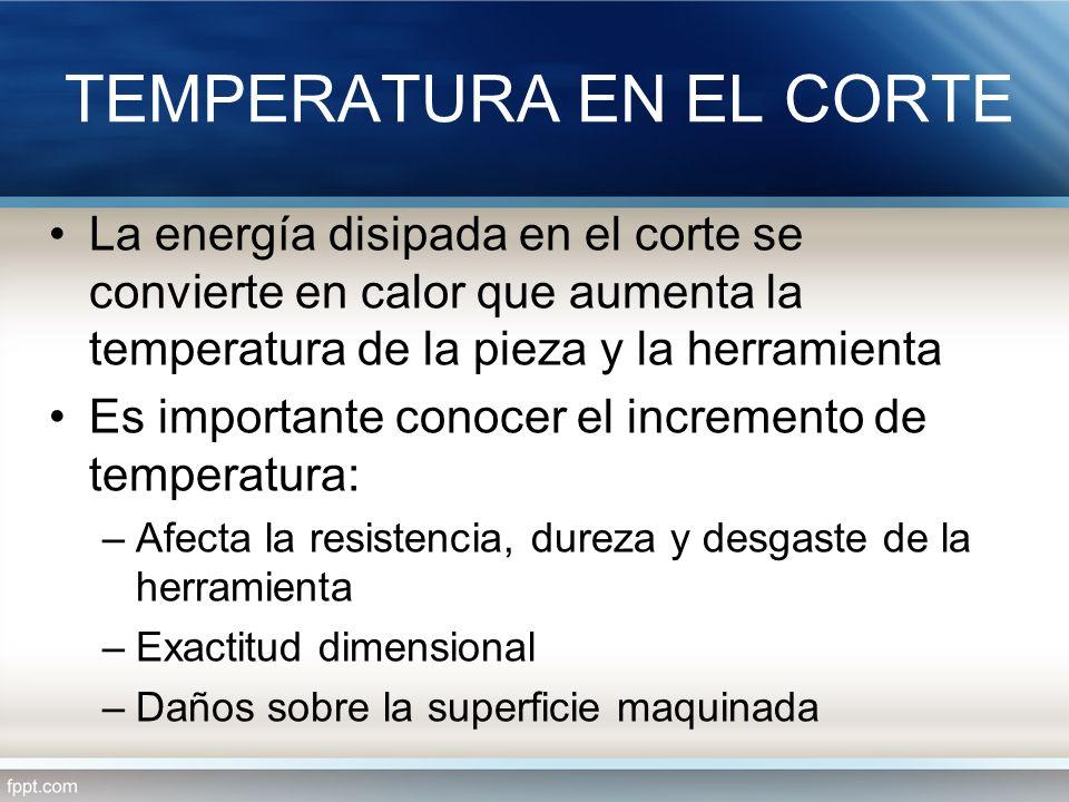 TEMPERATURA EN EL CORTE La energía disipada en el corte se convierte en calor que aumenta la temperatura de la pieza y la herramienta Es importante co
