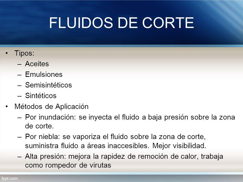 Tipos: –Aceites –Emulsiones –Semisintéticos –Sintéticos Métodos de Aplicación –Por inundación: se inyecta el fluido a baja presión sobre la zona de co