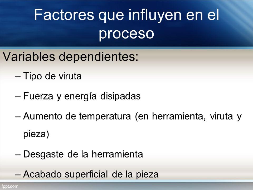 Factores que influyen en el proceso Variables dependientes: –Tipo de viruta –Fuerza y energía disipadas –Aumento de temperatura (en herramienta, virut