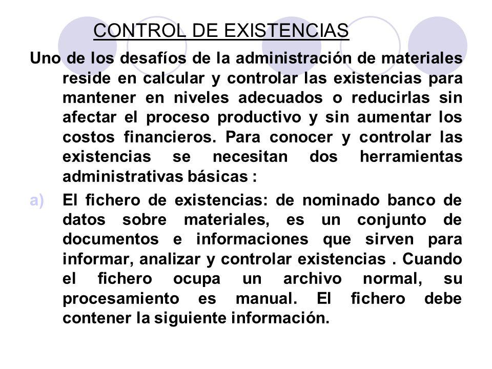 CONTROL DE EXISTENCIAS Uno de los desafíos de la administración de materiales reside en calcular y controlar las existencias para mantener en niveles