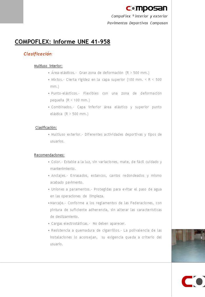CompoFlex ® interior y exterior Pavimentos Deportivos Composan Características COMPOFLEX: Informe UNE 41-958 Resistencia al fuego: Mínimo M-3, deben cumplir la NBE-CPI-96.