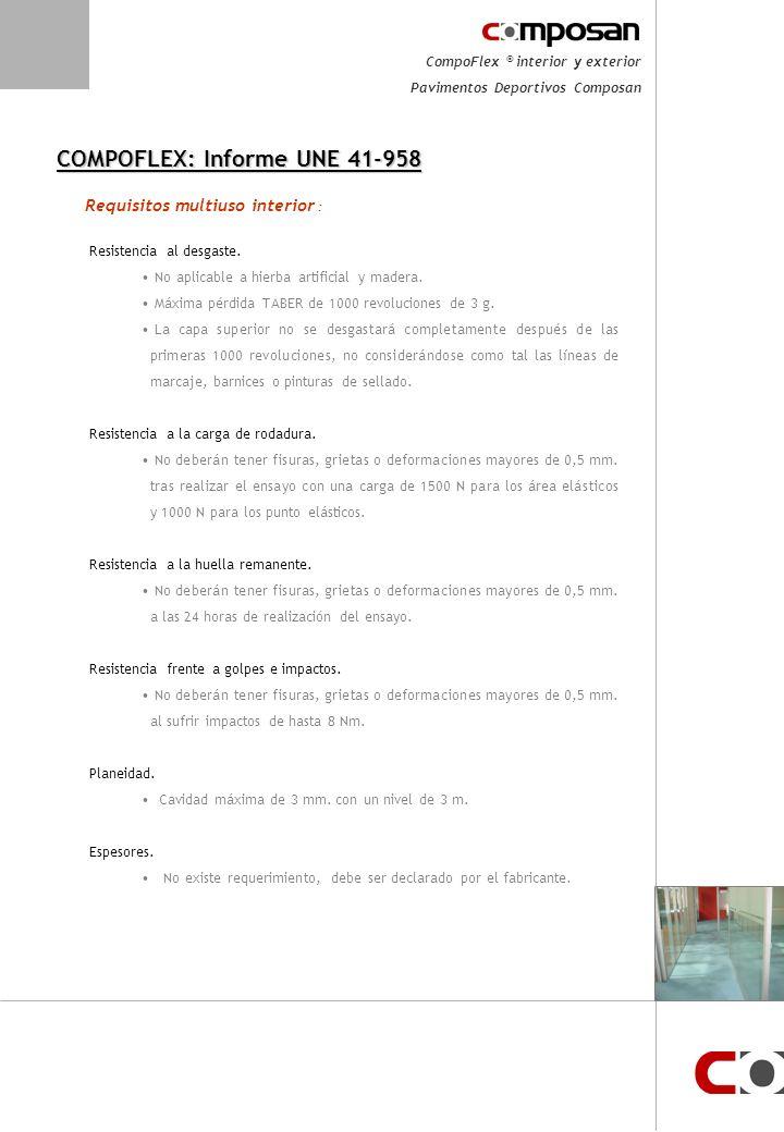 CompoFlex ® interior y exterior Pavimentos Deportivos Composan COMPOFLEX: Informe UNE 41-958 Absorción impactos.