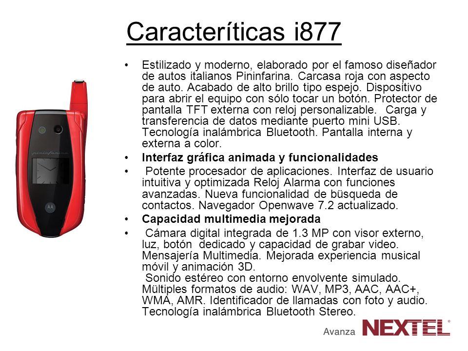 Caracteríticas i877 Estilizado y moderno, elaborado por el famoso diseñador de autos italianos Pininfarina. Carcasa roja con aspecto de auto. Acabado