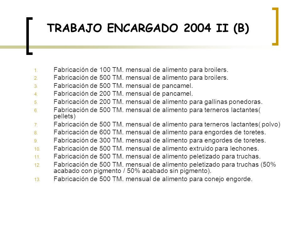 TRABAJO ENCARGADO 2004 II (B) 1. Fabricación de 100 TM. mensual de alimento para broilers. 2. Fabricación de 500 TM. mensual de alimento para broilers