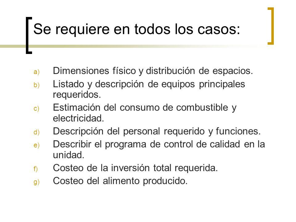 Se requiere en todos los casos: a) Dimensiones físico y distribución de espacios. b) Listado y descripción de equipos principales requeridos. c) Estim