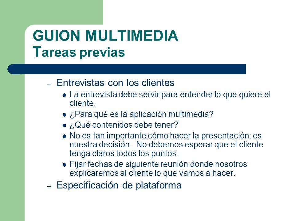 GUION MULTIMEDIA T areas previas – Entrevistas con los clientes La entrevista debe servir para entender lo que quiere el cliente.